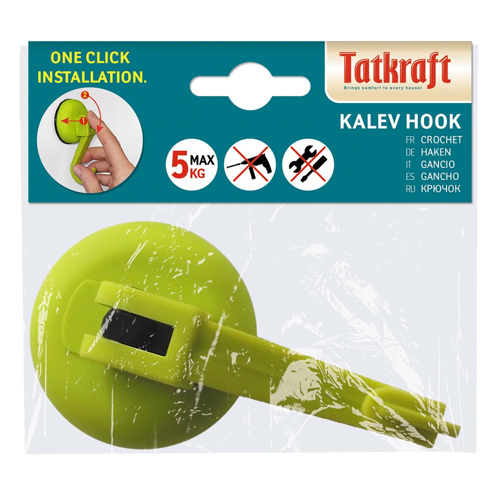 """Крючок Tatkraft """"Kalev Magic Hook"""", на вакуумной присоске, цвет: зеленый, диаметр 6 см"""