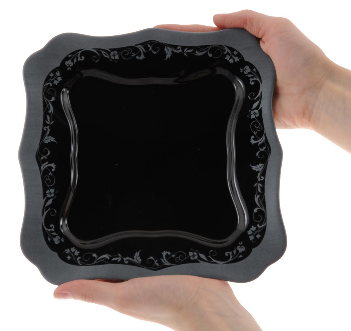 """Тарелка обеденная Luminarc """"Authentic Silver Black"""", 26 х 26 см"""