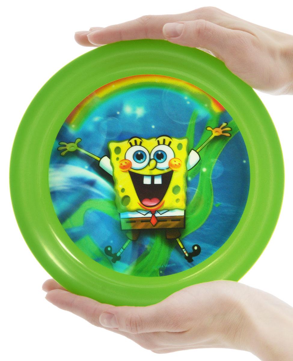 Губка Боб Тарелка детская 3D цвет зеленый диаметр 19 см