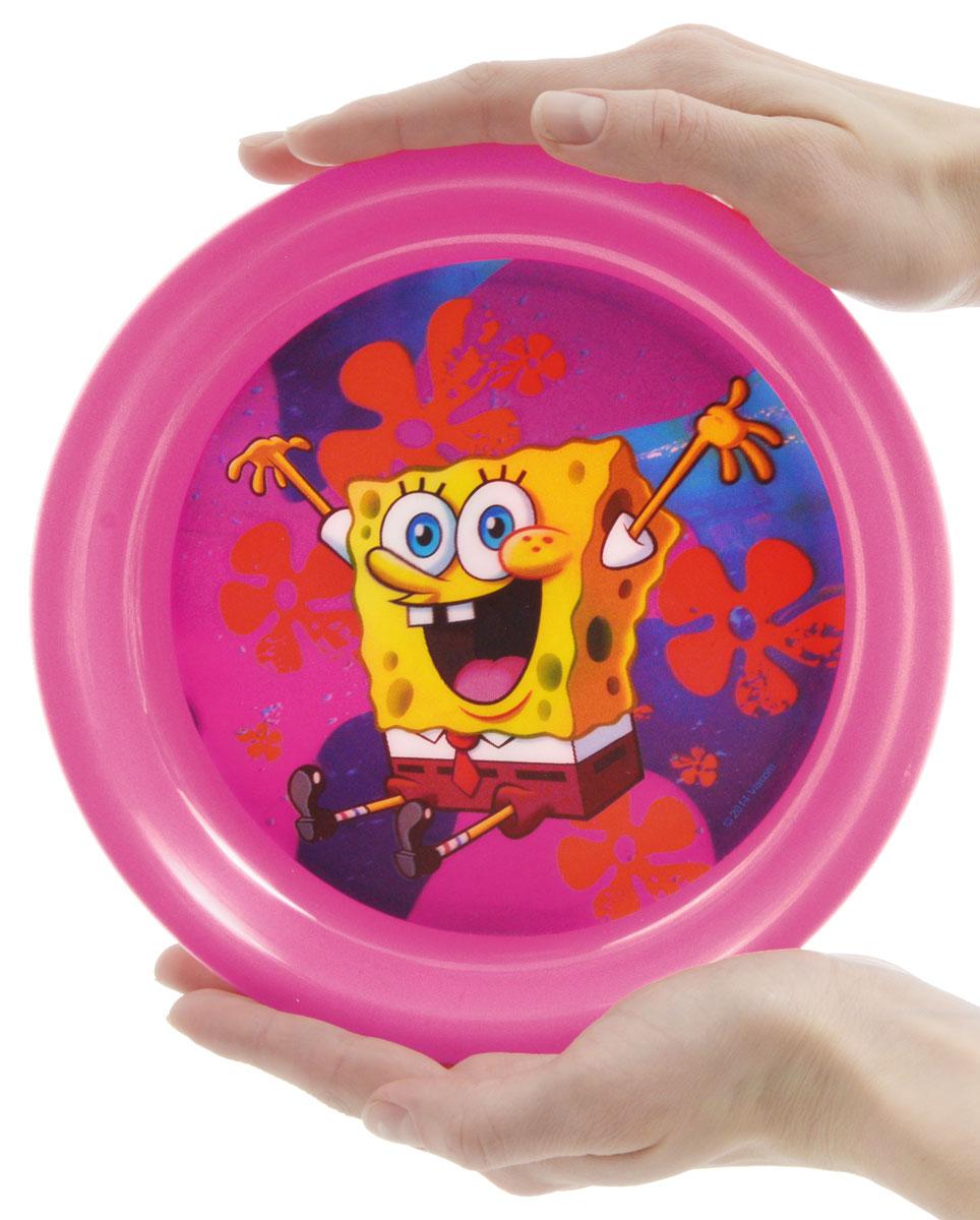 Губка Боб Тарелка детская 3D цвет розовый диаметр 19 см