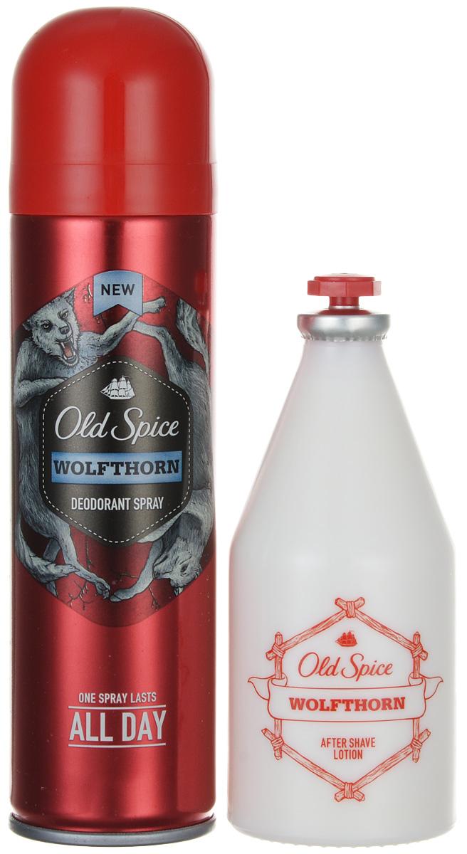 Old Spice Подарочный набор WOLFTHORN: Аэрозольный дезодорант 125 мл + Лосьон после бритья 100мл