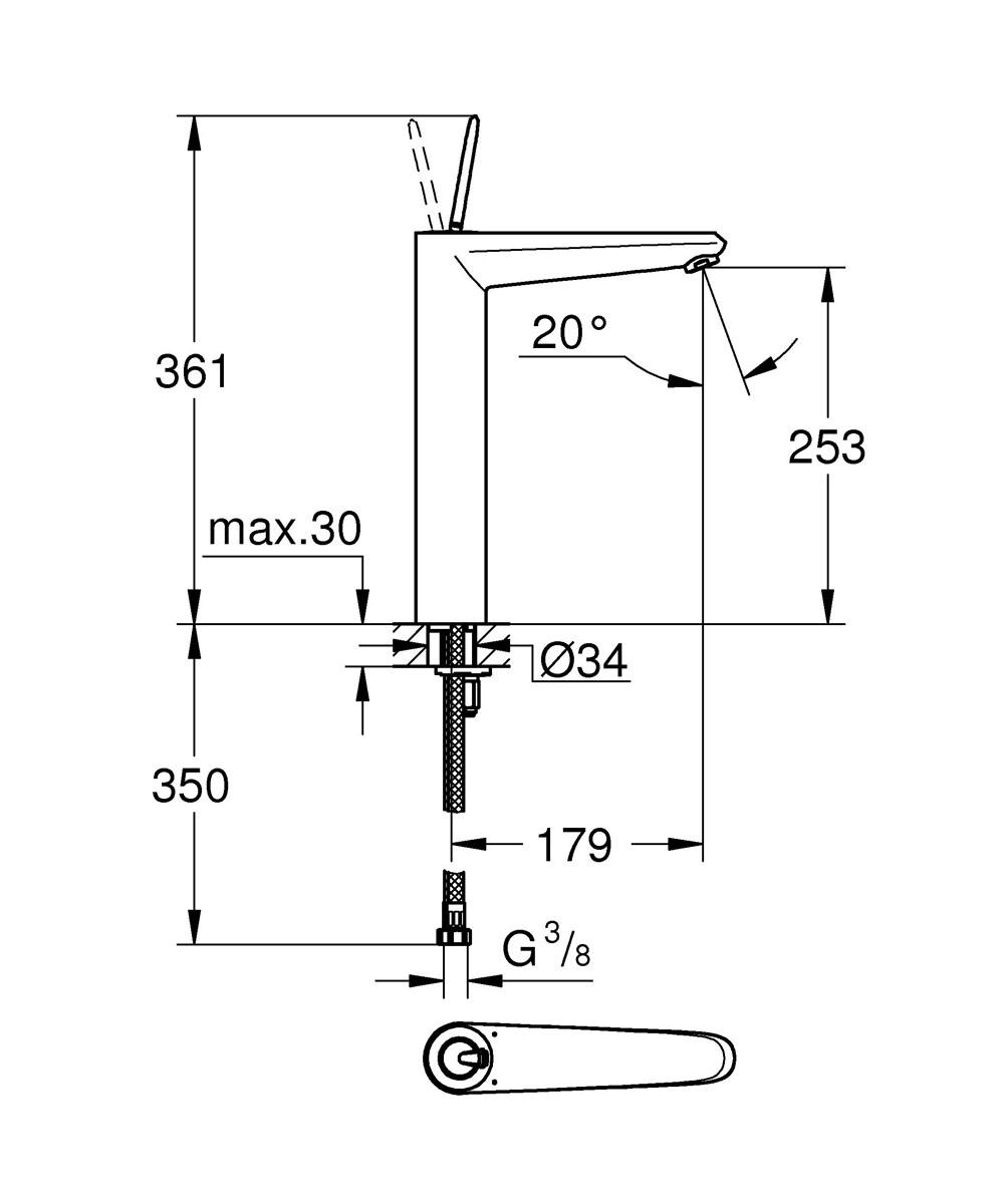 Смеситель для раковины GROHE Eurodisc Joy с высоким изливом, XL-Size (23428LS0) ( 4005176993640 )