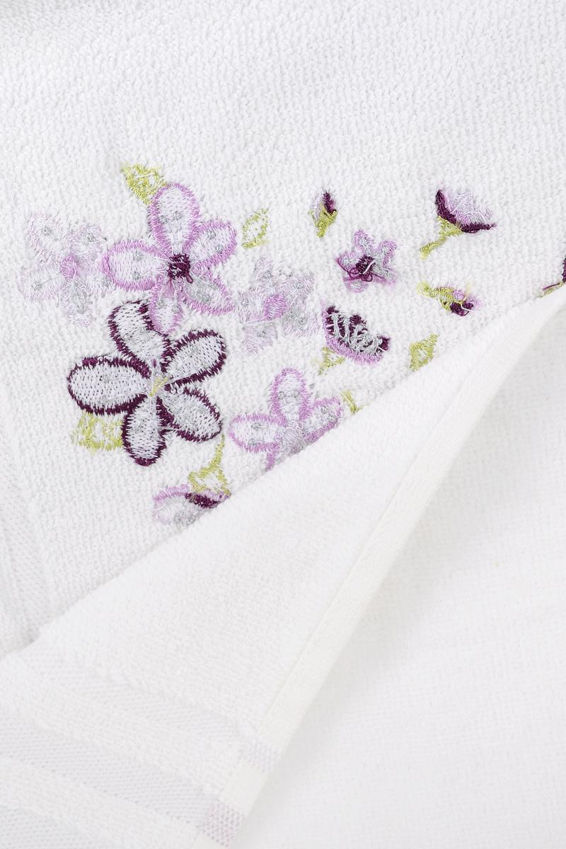 """Полотенце махровое TAC """"Adelia"""", цвет: белый, сиреневый, 50 x 90 см"""