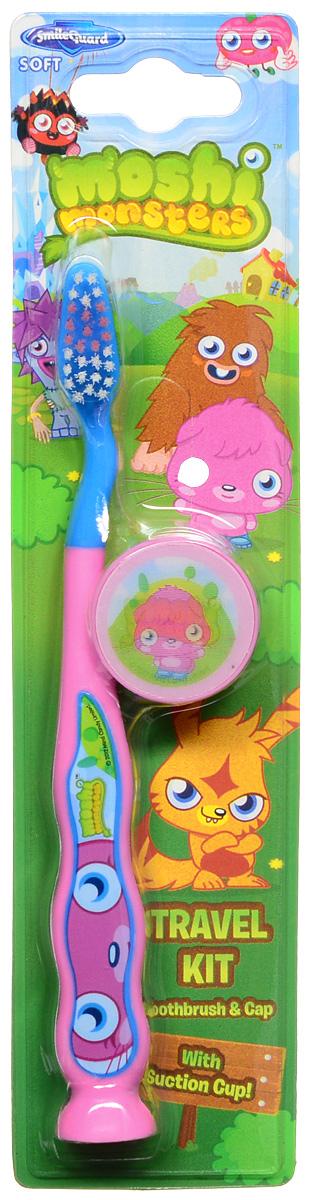 Moshi Monsters Зубная щетка на присоске с защитным колпачком цвет розовый голубой