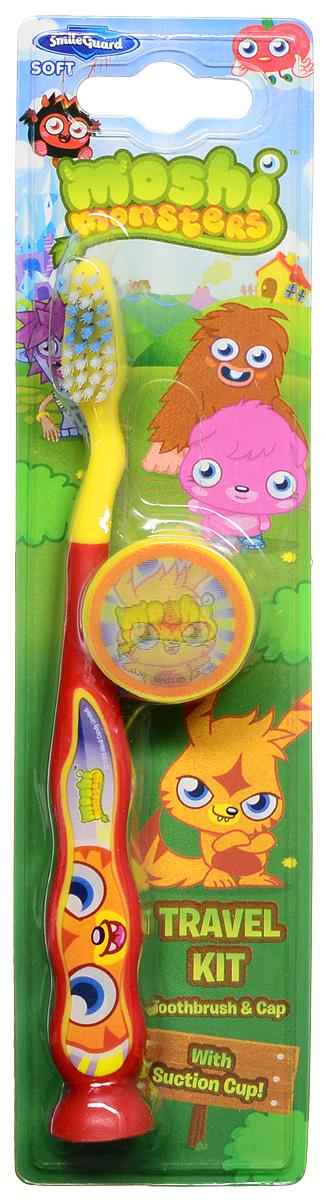 Moshi Monsters Зубная щетка на присоске с защитным колпачком цвет красный желтый