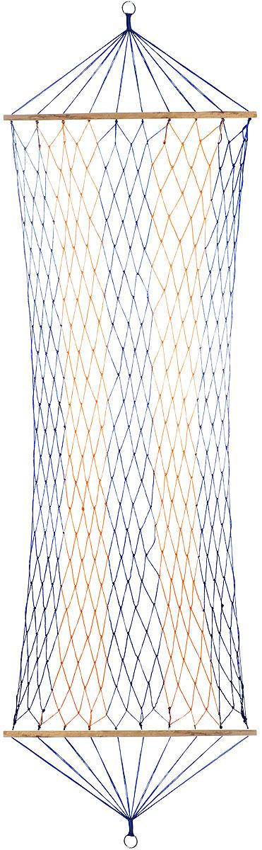 """Гамак Wildman """"Сетка"""", на кольцах, цвет: синий, оранжевый, 80 х 200 см"""
