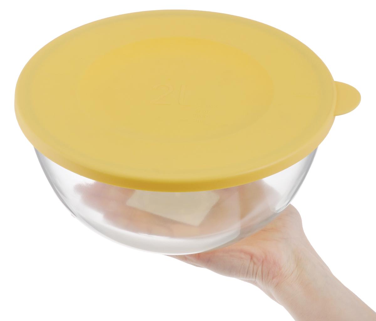"Чаша ""Glasslock"", с крышкой, цвет: прозрачный, желтый, 2 л"