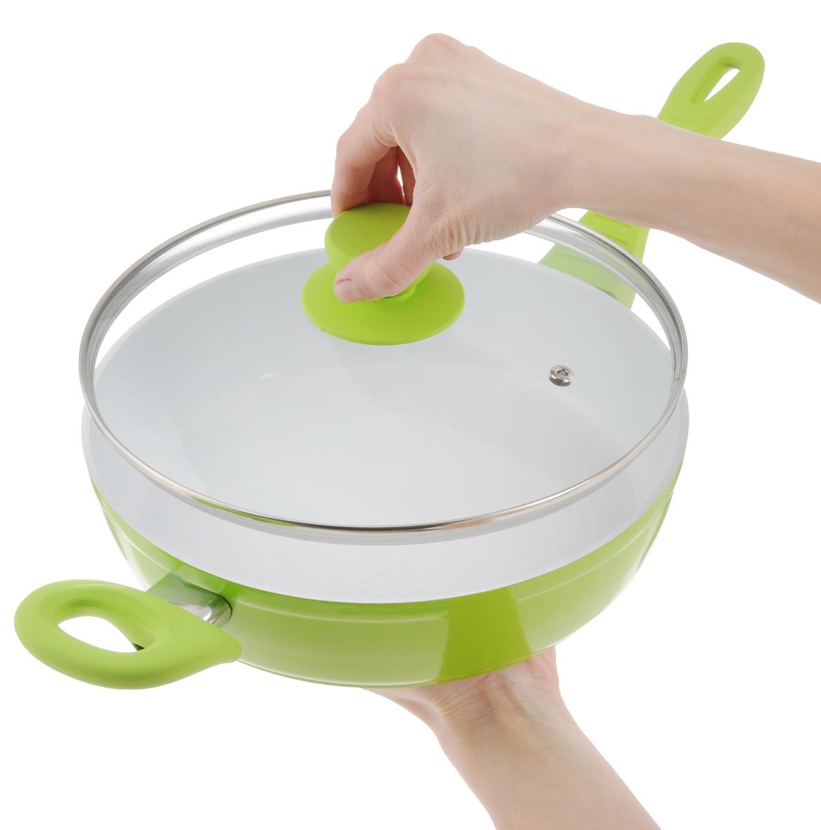 """Сковорода """"Добрыня"""" с крышкой, с керамическим покрытием, цвет: салатовый. Диаметр 24 см. DO-5007"""