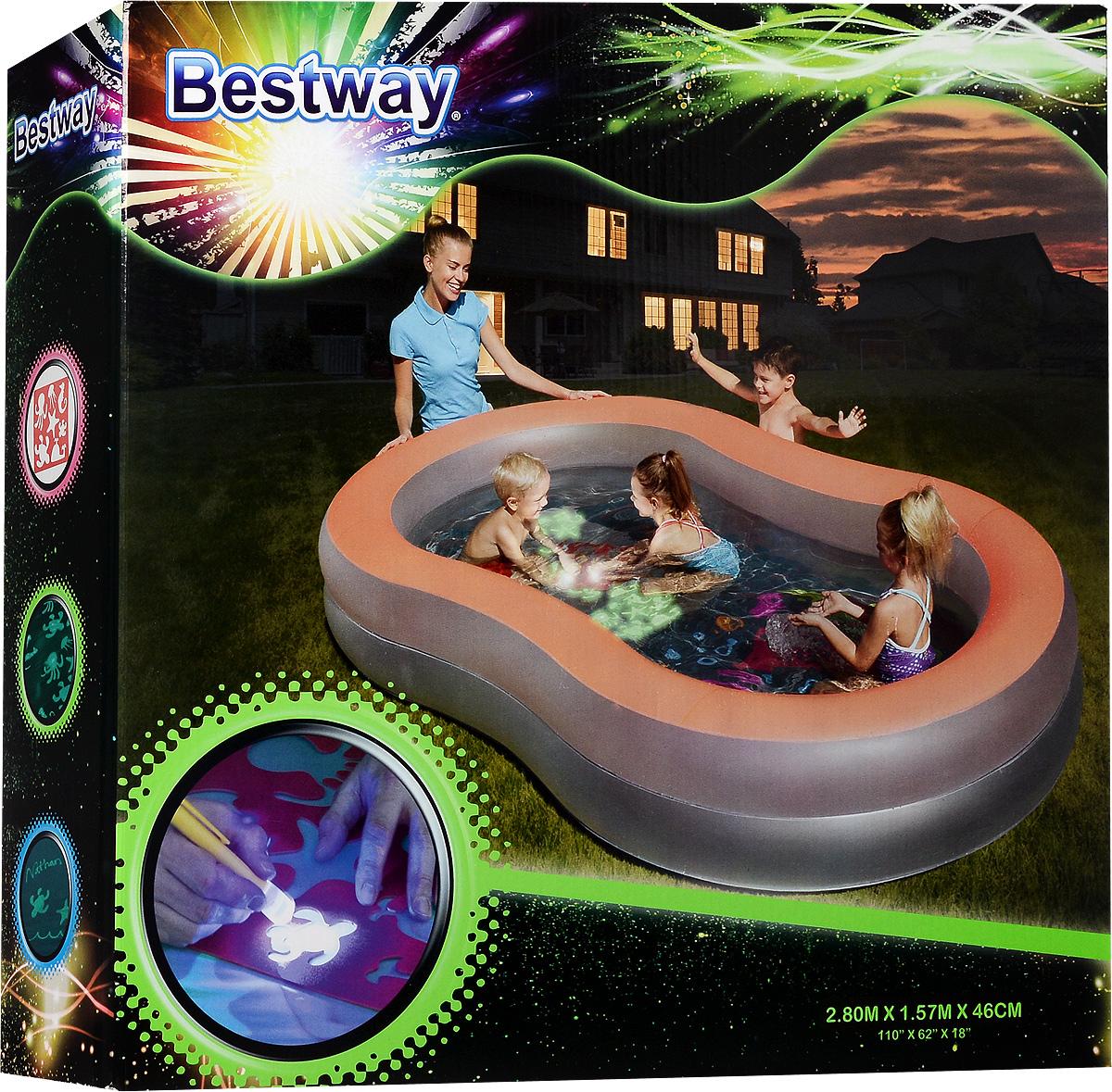 Бассейн надувной Bestway, с флуоресцентным дном. 54136
