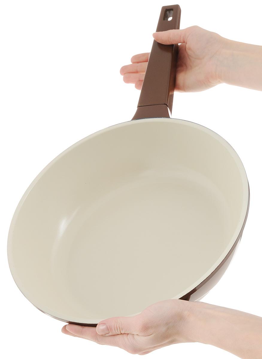 """Сковорода """"Biostal"""", с керамическим покрытием, цвет: коричневый, бежевый. Диаметр 28 см. FPD-28"""