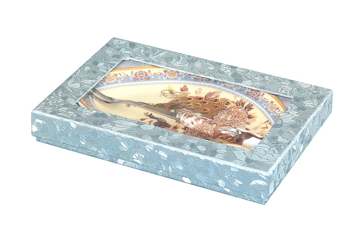 "Тарелка под лимон Elan Gallery ""Павлин на бежевом"", с вилкой, 17 х 11 х 2 см"
