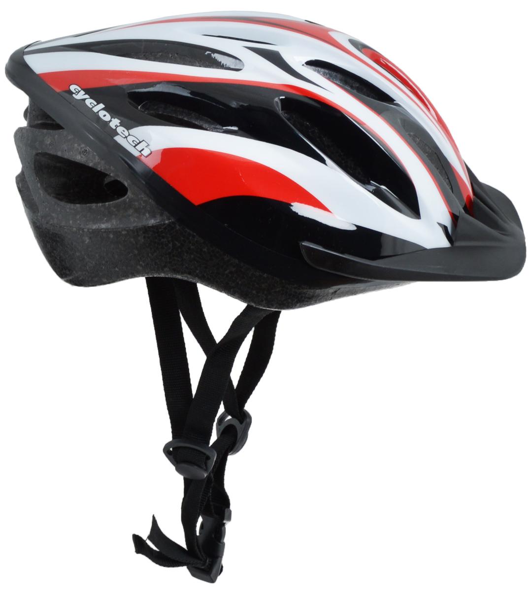 """Шлем защитный """"Cyclotech"""", для занятий велоспортом, цвет: черный, белый, красный. Размер L"""