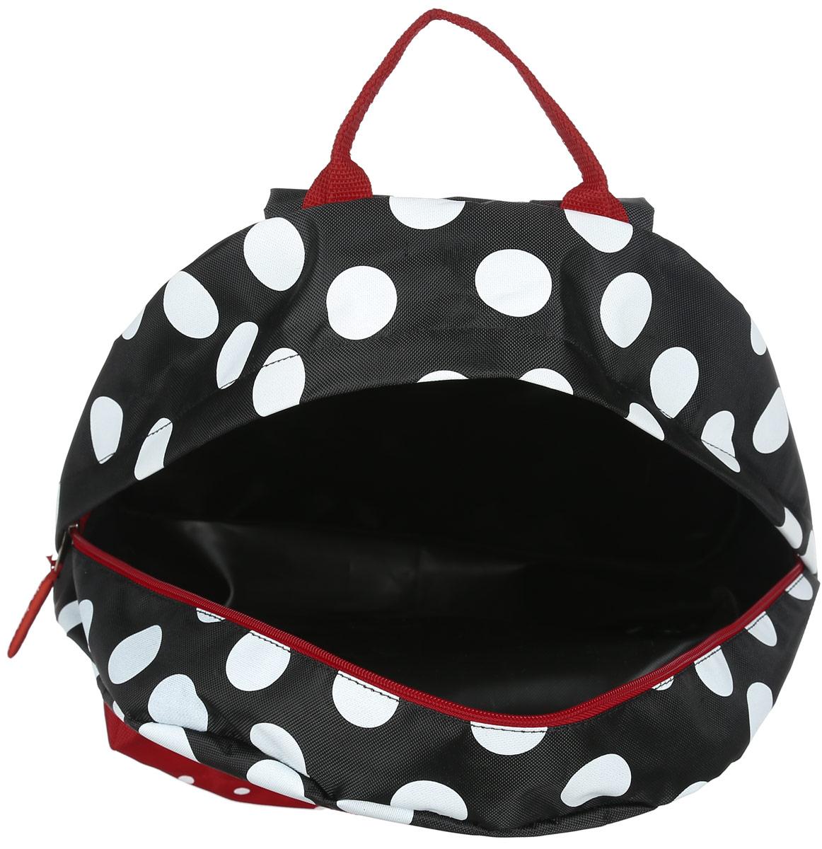 Рюкзак женский Antan, цвет: черный, белый, красный. 6-7 ( 6-7 Горошек полиэстер/черный )