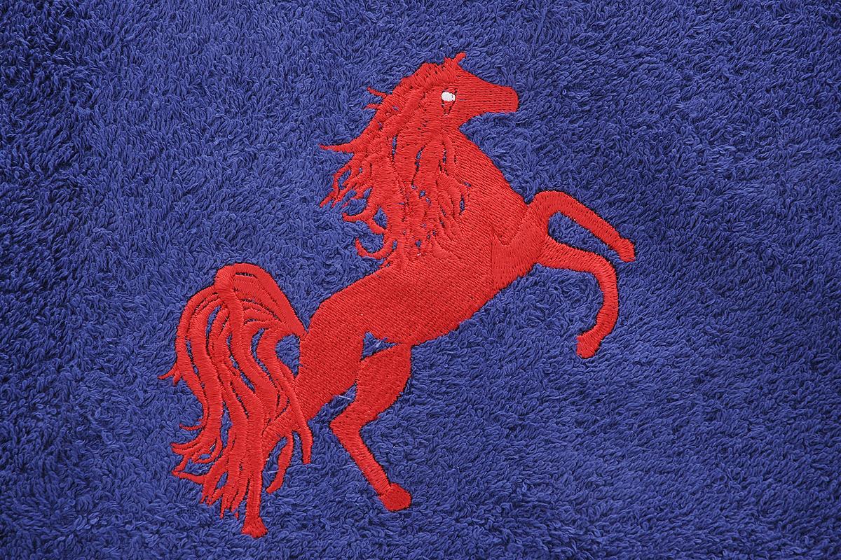 "Полотенце Soavita ""Luxury. Лошадка"", цвет: синий, 48 х 80 см. 707"