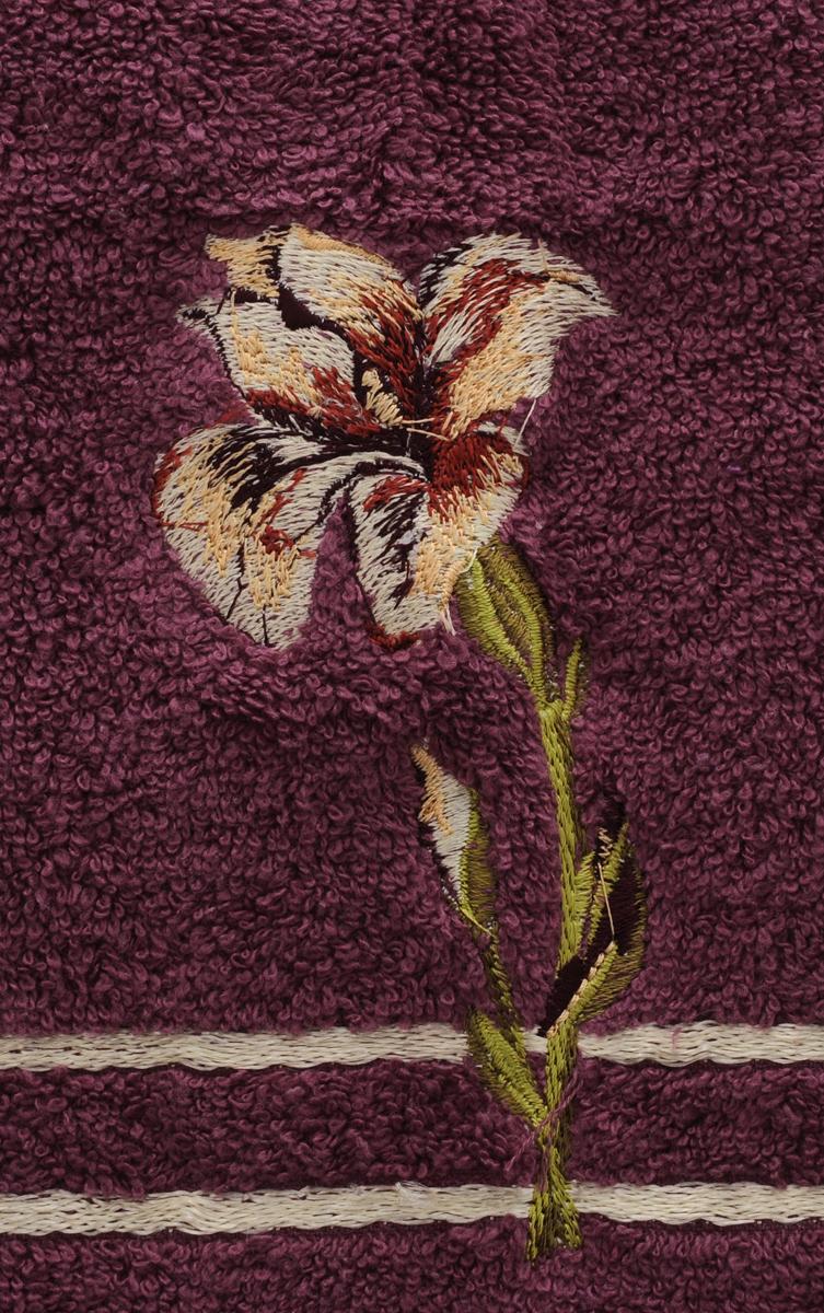 """Полотенце Soavita """"Iris"""", цвет: бордовый, 50 х 90 см"""