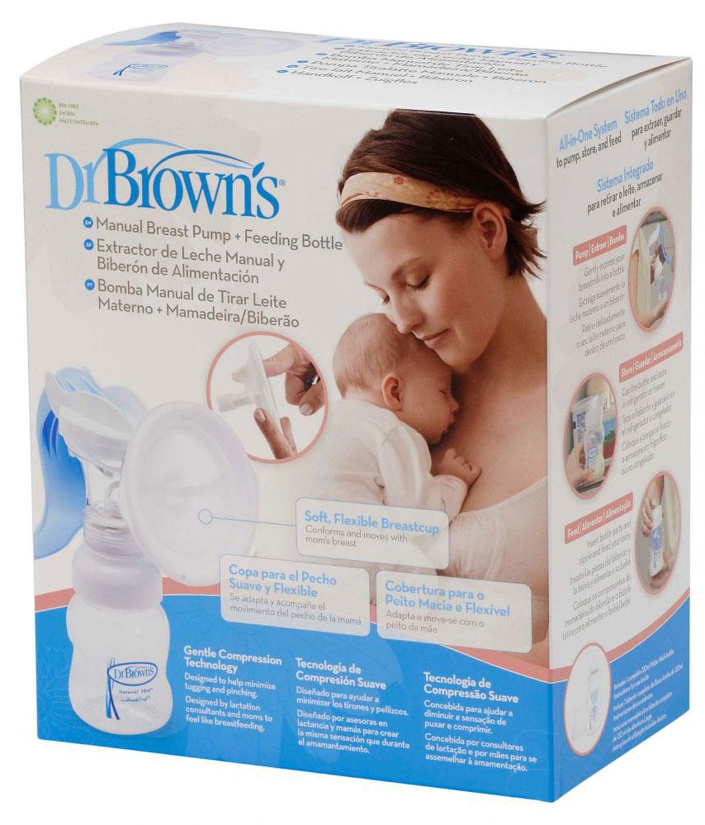 Dr.Brown's Молокоотсос ручной с бутылочкой для кормления