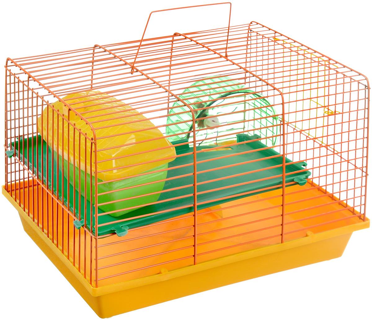 """Клетка для грызунов """"ЗооМарк"""", 2-этажная, цвет: желтый поддон, оранжевая решетка, зеленый этаж, 36 х 23 х 24 см"""