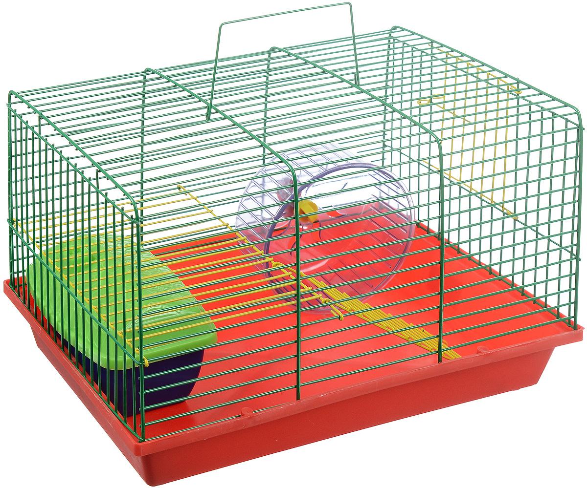 """Клетка для грызунов """"ЗооМарк"""", 2-этажная, цвет: красный поддон, зеленая решетка, желтый этаж, 36 х 22 х 24 см. 125ж"""