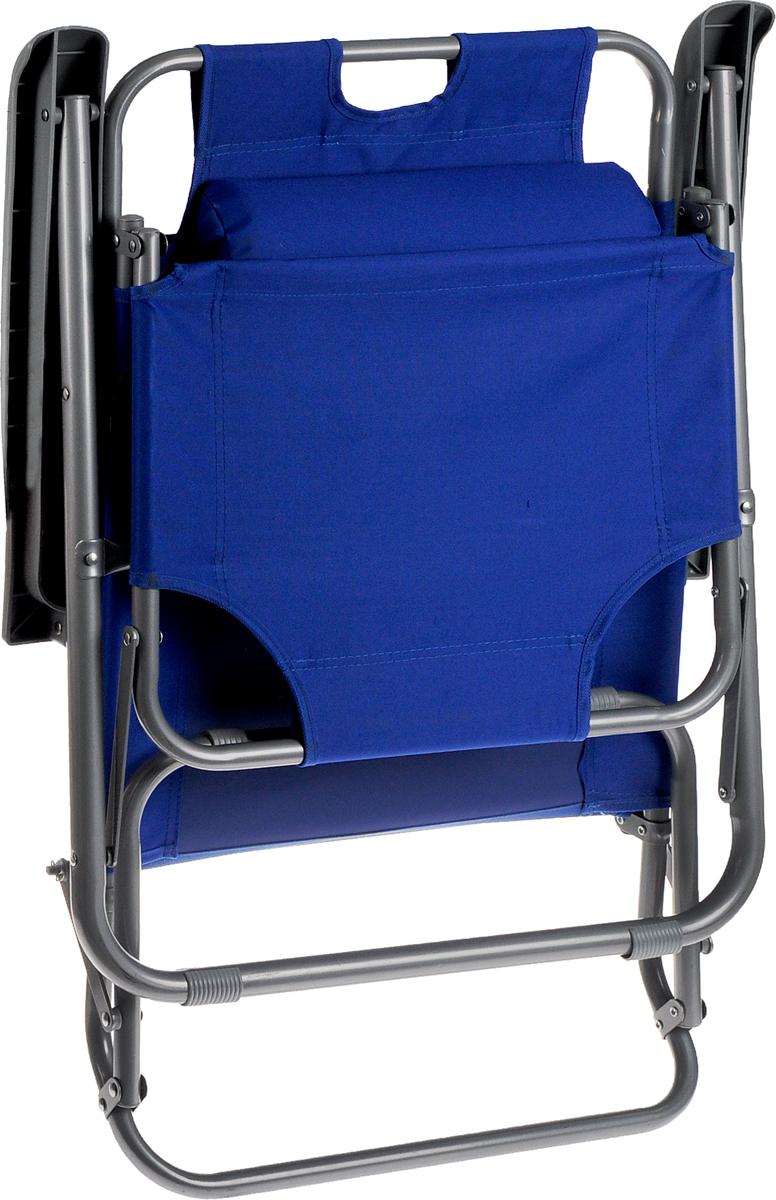 """Кресло складное Woodland """"Lounger Oxford"""", цвет: синий, серый, 153 см х 60 см х 79 см"""