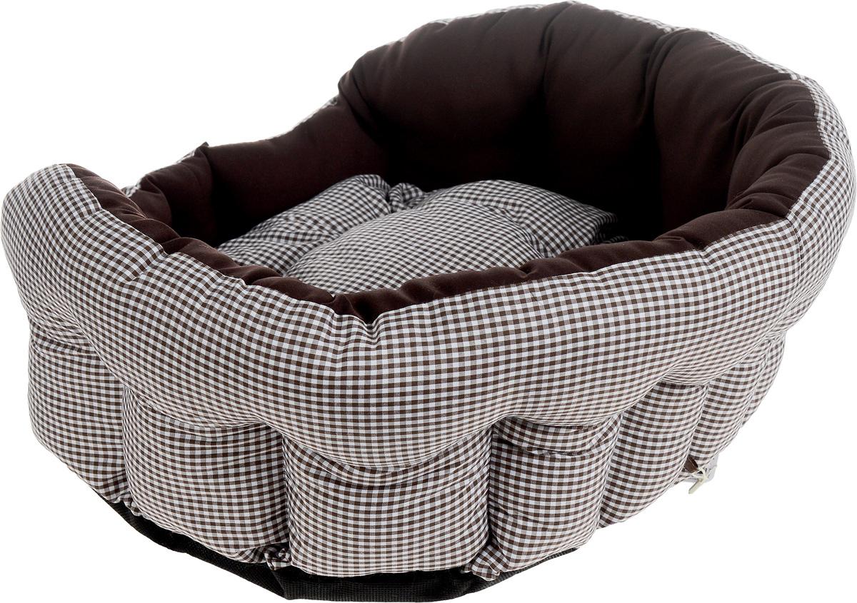 """Лежак для собак и кошек Зоогурман """"Каприз"""", цвет: шоколадный, белый, диаметр 45 см"""