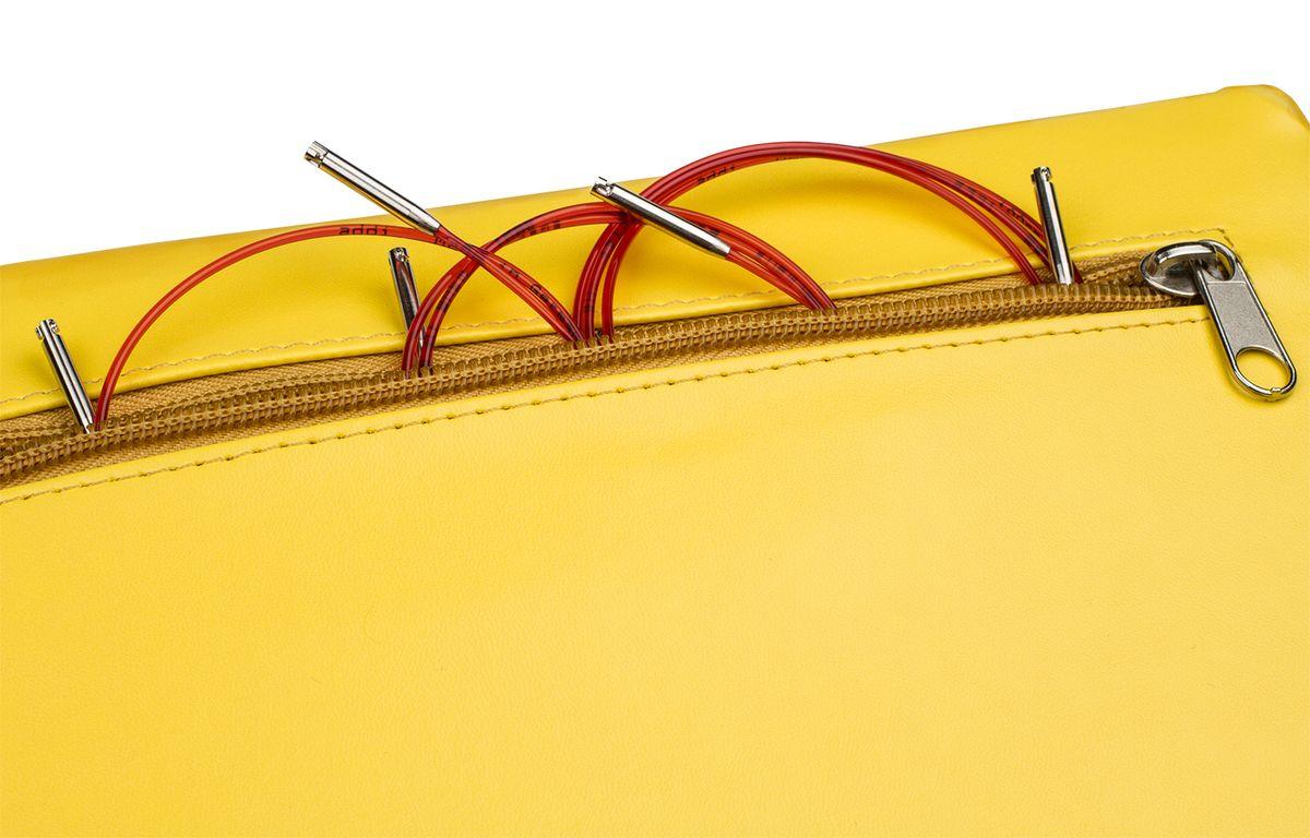 ADDI Набор круговых никелированных спиц со сменными лесками Click MIX, 8 разных размеров, 3 вида длины лески, 1 соединительный элемент, 1 кулон в виде сердца