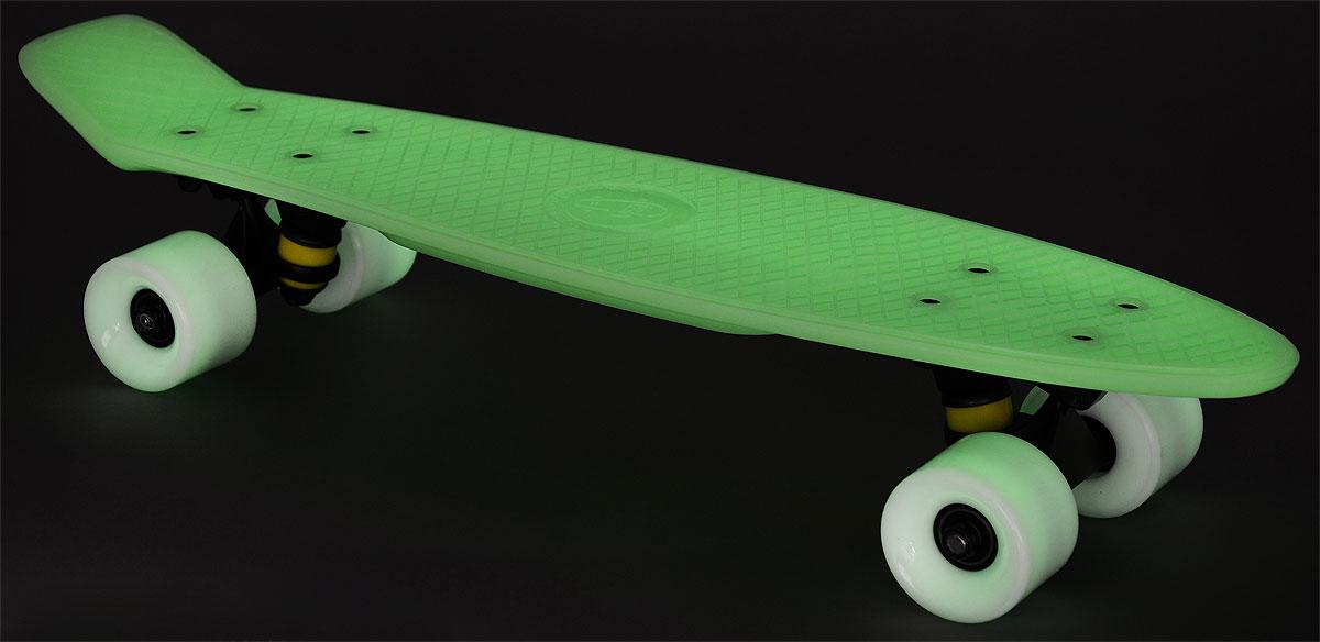 """Пластборд """"Fish"""", светящийся в темноте, цвет: зеленый, белый, дека 56 х 15 см"""