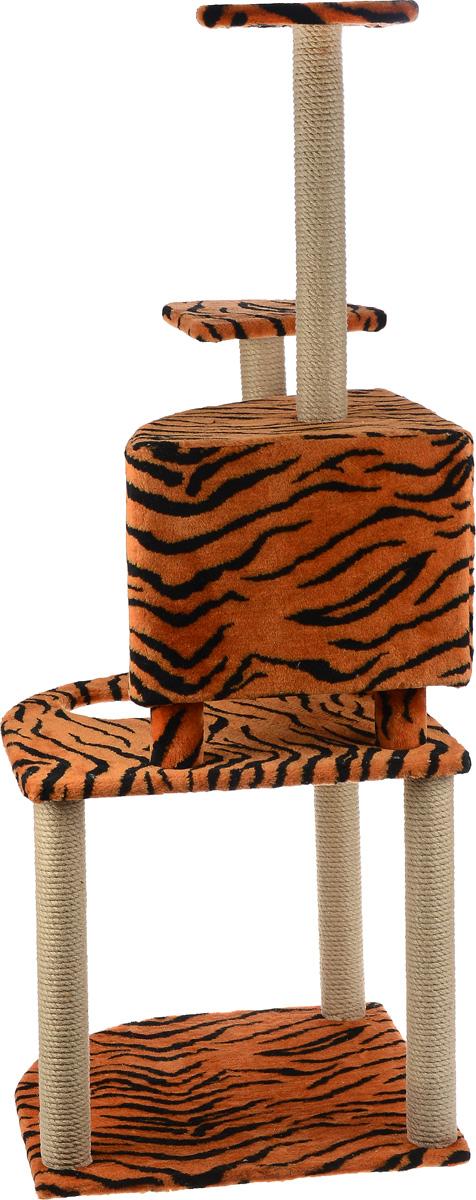 """Игровой комплекс для кошек """"Меридиан"""", с домиком и когтеточкой, цвет: оранжевый, черный, бежевый, 55 х 55 х 140 см"""
