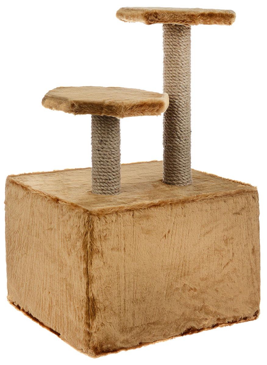 """Домик для животных """"ЗооМарк"""", с когтеточкой, цвет: светло-коричневый, бежевый, 47 х 37 х 73 см"""
