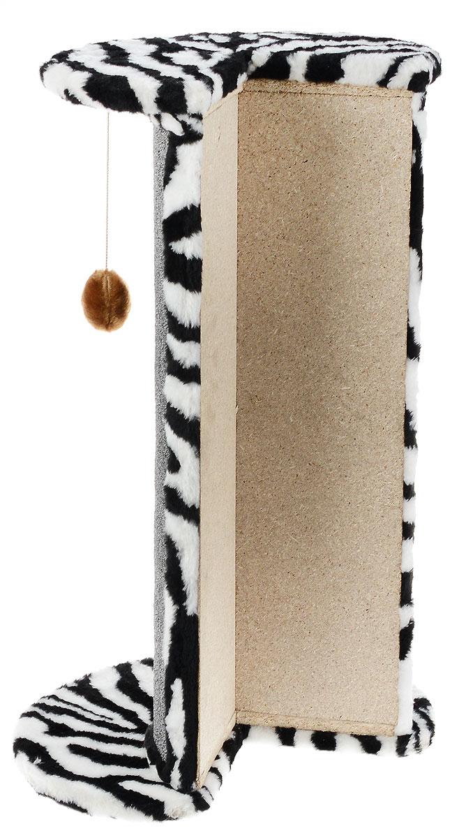 "Когтеточка ""ЗооМарк"", угловая, цвет: мех зебра, ковролин серый, 50 х 35 х 79 см"
