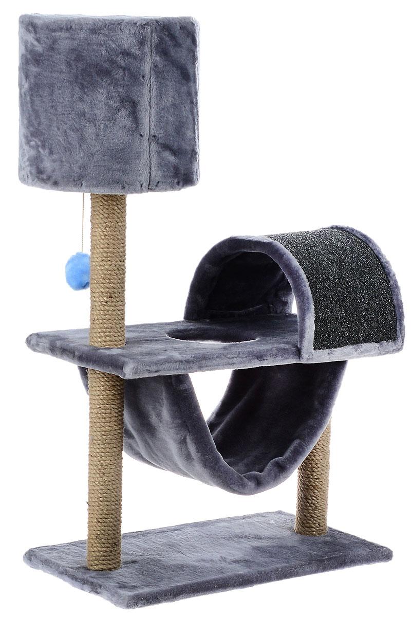 """Игровой комплекс для кошек ЗооМарк """"Кузя"""", цвет: серый, бежевый, 69 х 37 х 102 см"""