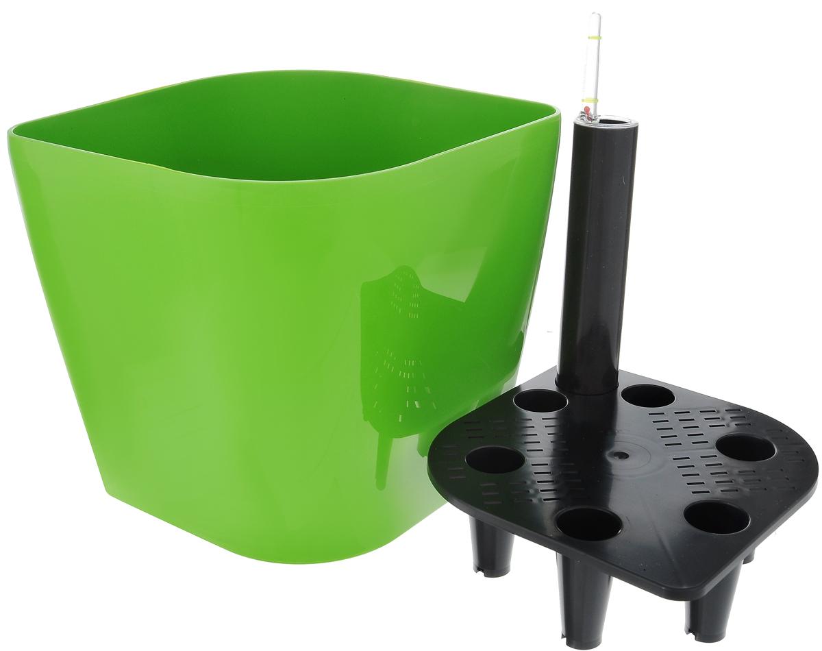 """Горшок цветочный Tescoma """"Sense"""", с самополивом, цвет: зеленый, 20 х 20 х 20 см"""