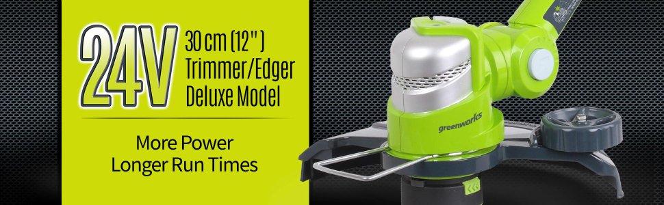 Триммер струнный GreenWorks 24В делюкс (без аккумуляторной батареи и зарядного устройства) ( 2100007 )
