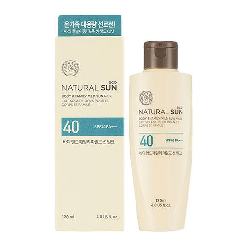 The Face Shop Natural Sun Мягкий солнцезащитный крем (молочко) для всей семьи SPF40 PA+++, 120 мл