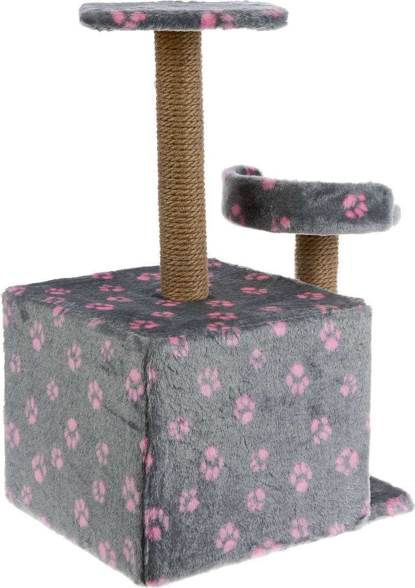 """Игровой комплекс для кошек """"Меридиан"""", с домиком и когтеточкой, цвет: серый, розовый, бежевый, 35 х 45 х 75 см"""