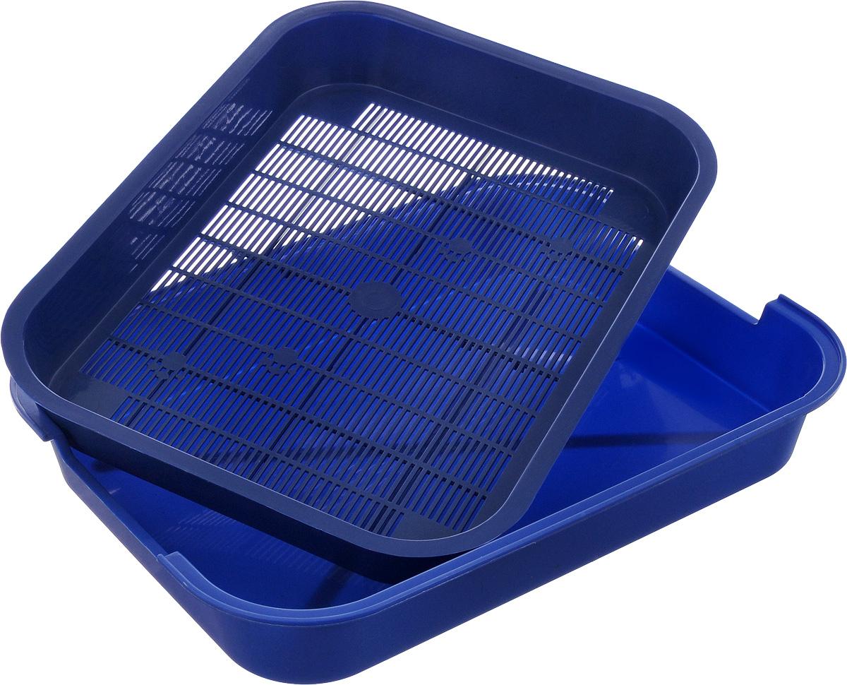 """Туалет для кошек """"Каскад"""", с сеткой, цвет: синий, 38 х 28 х 6 см"""