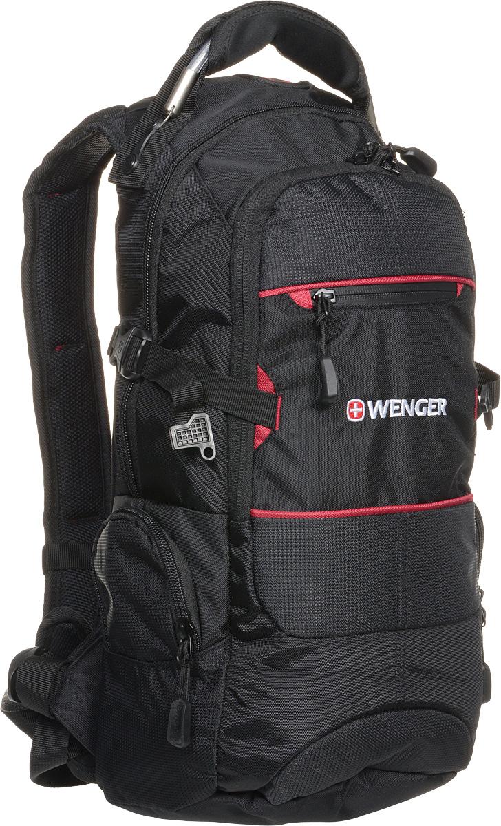 """Рюкзак Wenger """"Narrow Hiking Pack"""", цвет: черный, красный, 23 х 18 х 47 см, 22 л"""