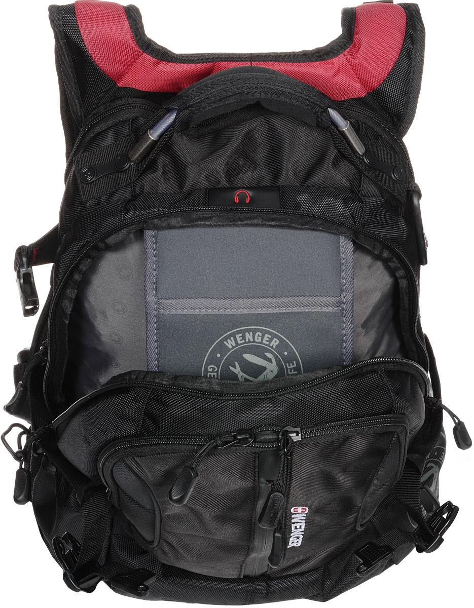 """Рюкзак Wenger """"Large Volume Daypack"""", цвет: черный, красный, 43 х 32 х 18 см, 30 л"""