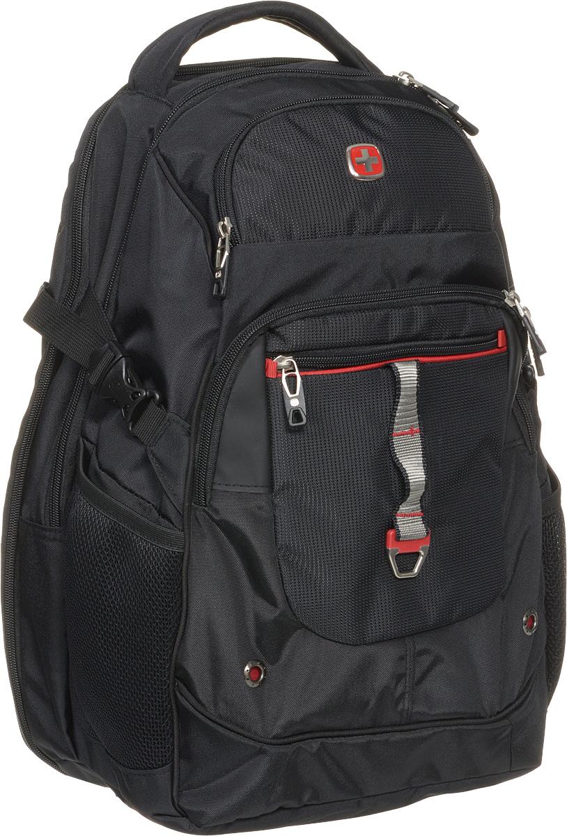 """Рюкзак городской """"Wenger"""", цвет: черный, красный, 34 x 22 x 46 см, 34 л ( 6968201408 )"""