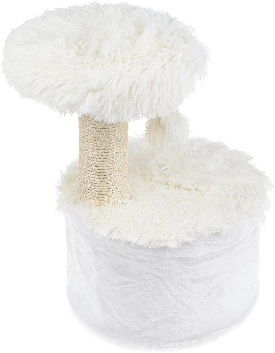 """Домик для кошек Zolux """"Yeti One"""", с когтеточкой, цвет: белый, 35 х 35 х 52,5 см"""