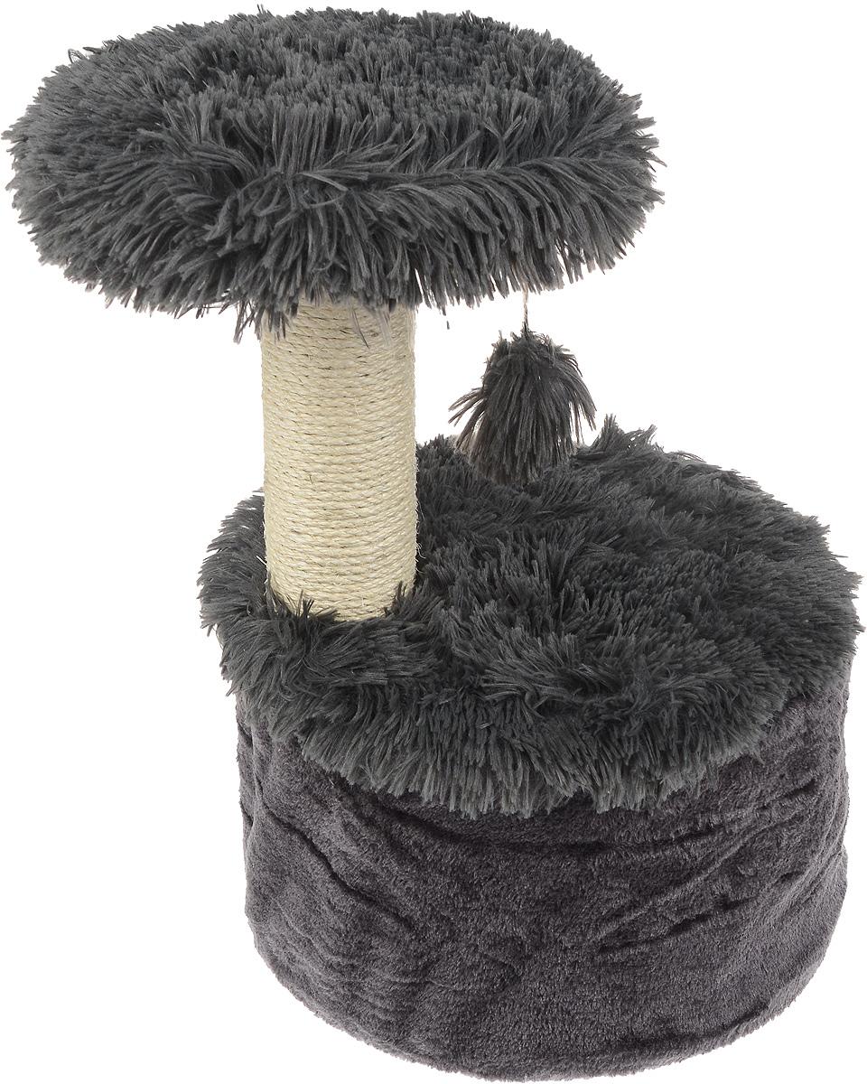 "Домик для кошек Zolux ""Yeti One"", с когтеточкой, цвет: темно-серый, белый, 35 х 35 х 52,5 см"