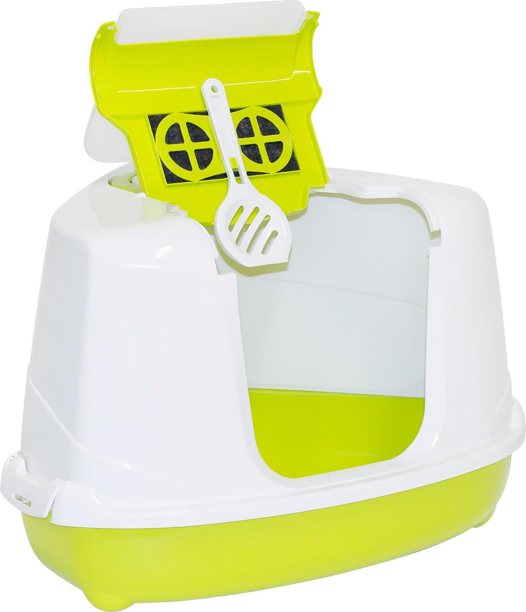 "Туалет угловой закрытый для кошек Moderna ""Flip Corner"", цвет: зеленый, 56х45х39 см"