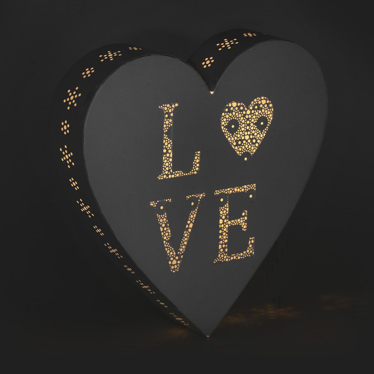 """Декоративное настенное украшение Gardman """"Love Heart"""", с LED подсветкой, 25,5 x 5 х 25,5 см"""