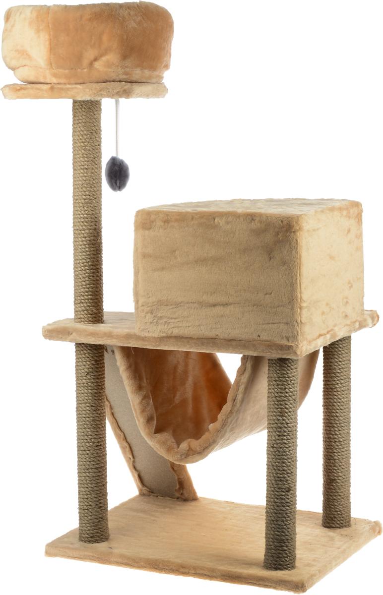 """Игровой комплекс для кошек ЗооМарк """"Мурка"""", цвет: серый, песочный, 63 х 45 х 120 см"""
