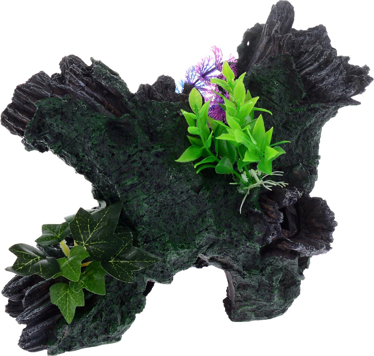 """Декорация для аквариума Barbus """"Коряга с растением"""", цвет: серый, зеленый, 30,5 х 20 х 20,5 см"""