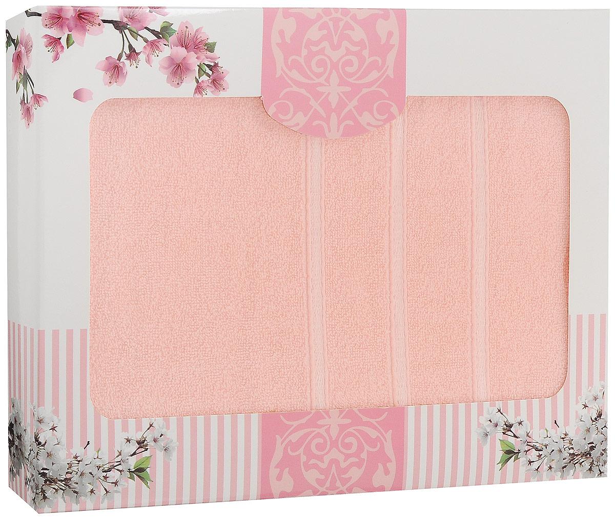 "Полотенце хлопковое ""Home Textile"", цвет: персиковый, 70 х 140 см"