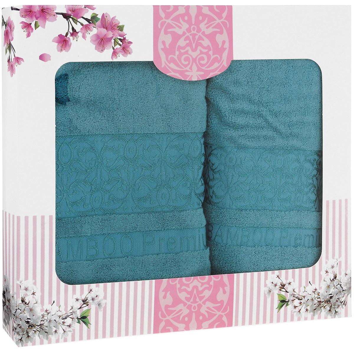 """Набор бамбуковых полотенец Home Textile """"Bamboo Premium"""", цвет: бирюзовый, 2 шт"""