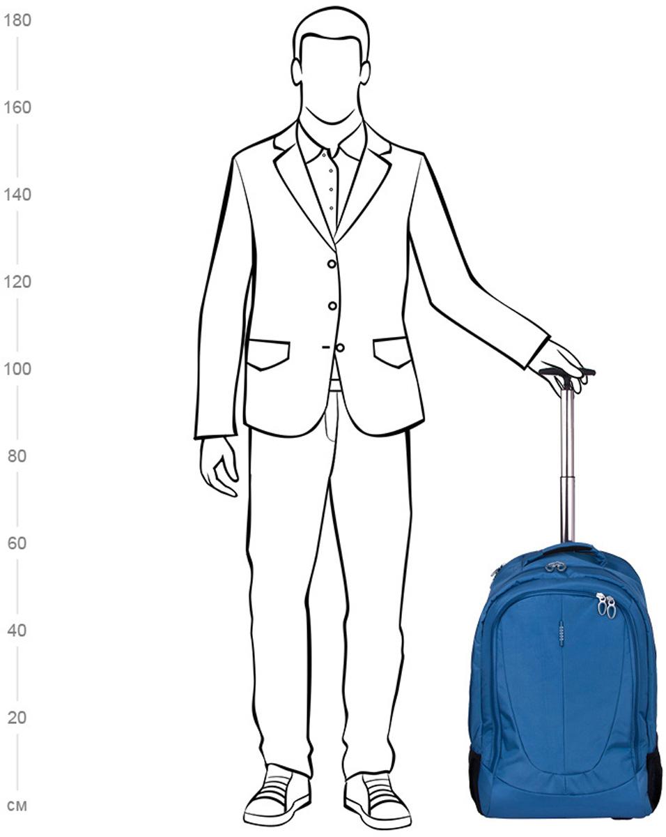 """Чемодан-рюкзак """"Polar"""", на колесах, цвет: синий, 46 л, 38 х 55 х 22 см. Р8293(22"""")"""