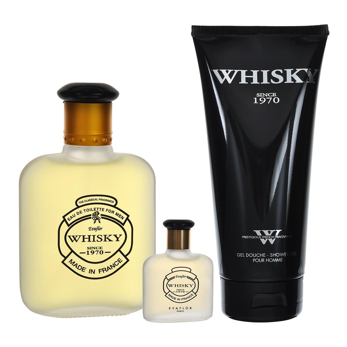 Whisky Подарочный набор Whisky для мужчин: туалетная вода, 100 мл + 7,5 мл, гель для душа, 200 мл (Evaflor)