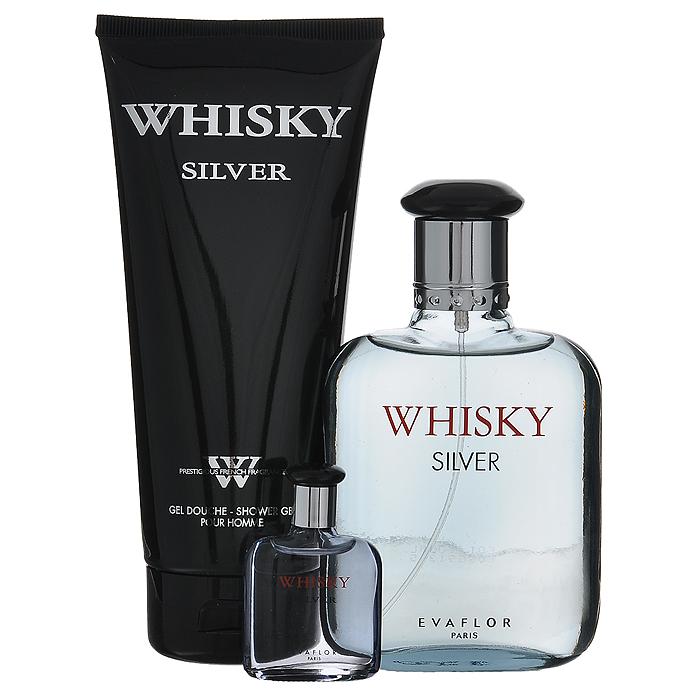 Whisky Подарочный набор Whisky Silver для мужчин: туалетная вода, 100 мл + 7,5 мл; гель для душа, 200 мл (Evaflor)
