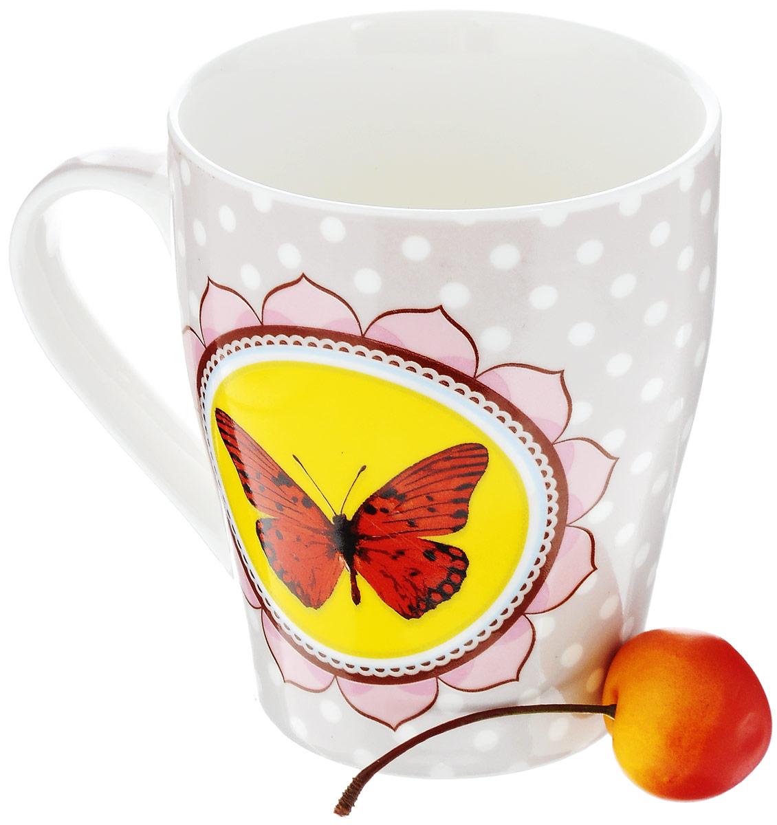 "Кружка Loraine ""Бабочка"", цвет: розовый, желтый, красный, 340 мл"